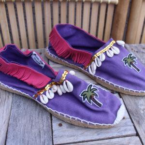 Espadrilles violettes, écusson palmier et coquillages Taille 38