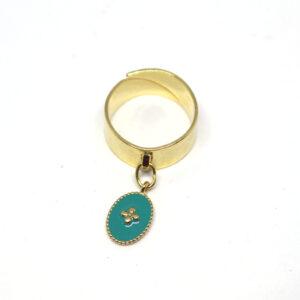 Bague dorée réglable avec médaille émaillée
